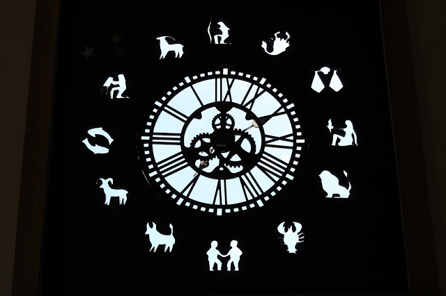 tower clock at fenton inn with zodiac simbols