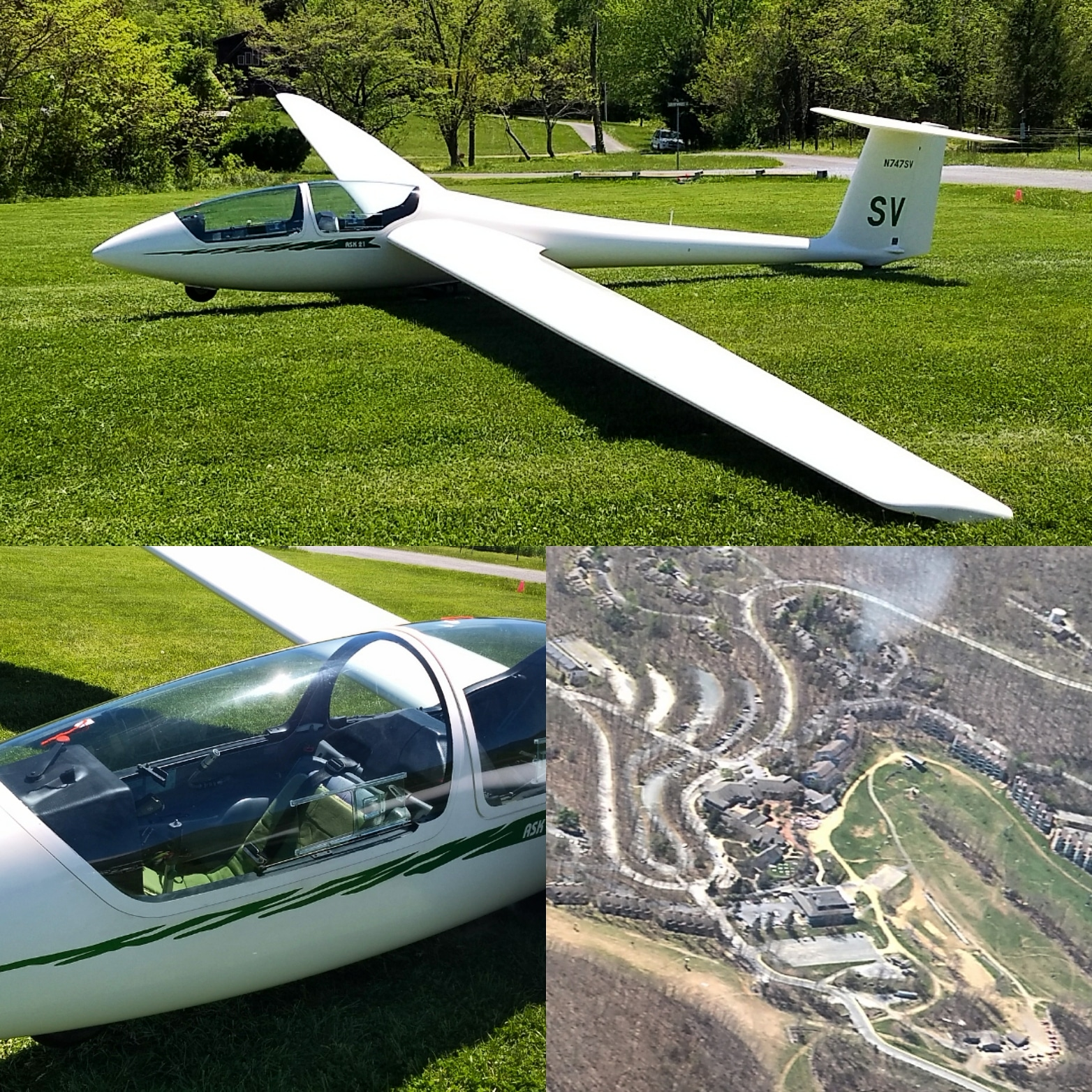 Shenandoah Valley Soaring- picture of the glider and the view from high up