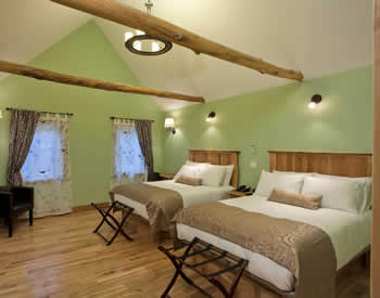 Cozy room with light green walls and walted ceiling with